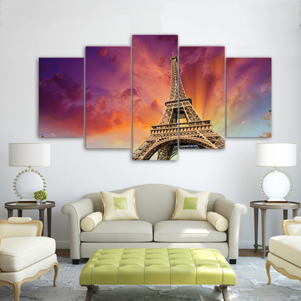 Canvas Modern Art Live Wall Decoration Framework Scenery Pictures Printed Painting 5 Panels Building Tower Landscape Modular