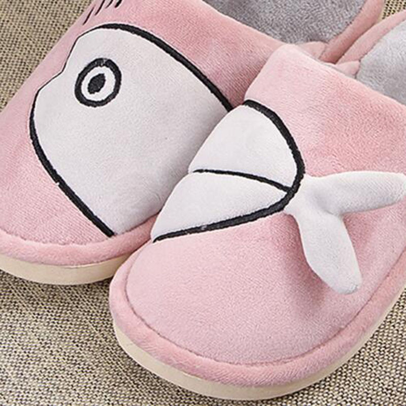 Women Shallow Design House Slippers Shoes Cartoon Cute Printed Winter Keep Warm Cotton Fabric Flats Slippers Shoes Big Size