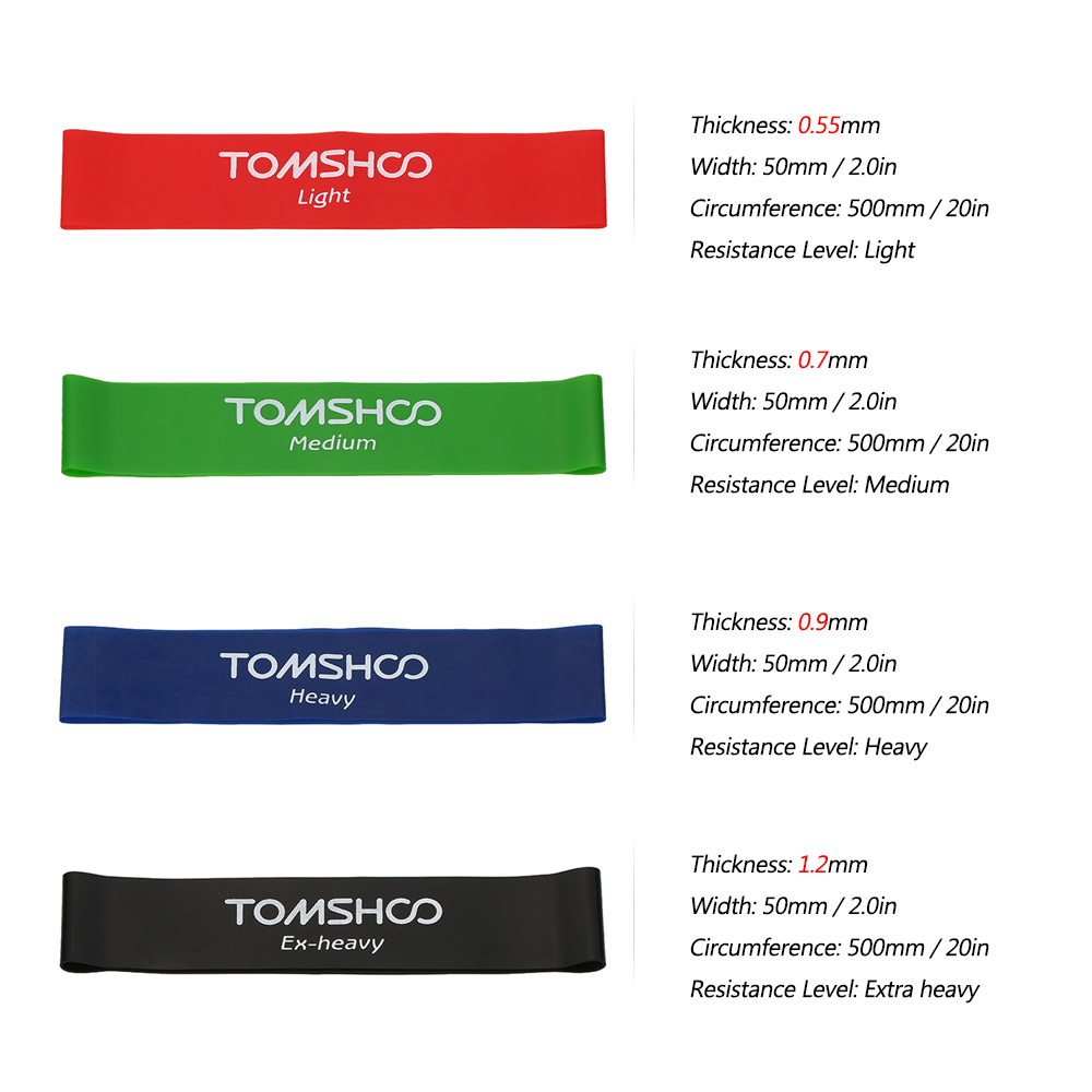 TOMSHOO Exercise Fitness Resistance Bands Latex Gym Strength Training Loops Bands Workout Bands Home Fitness Equipment