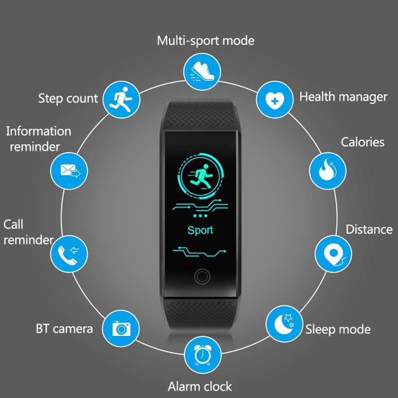 Waterproof Smart Watch Sports Bracelet Color Heart Rate Pedometer IP68 Waterproof Watch Top Brand Luxury Fitness Wrist Watch