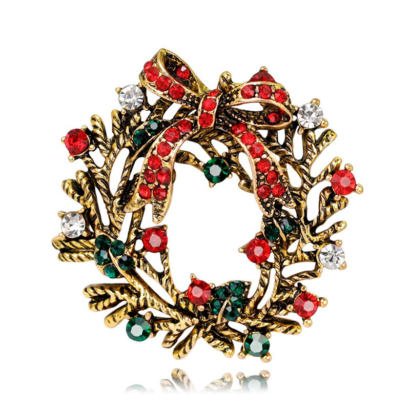 Mixed 20 Styles Red Boot Tree Penguin Santa Deer Brooches Pins For Women Full Rhinestones Christmas Brooches For The New Year Gift