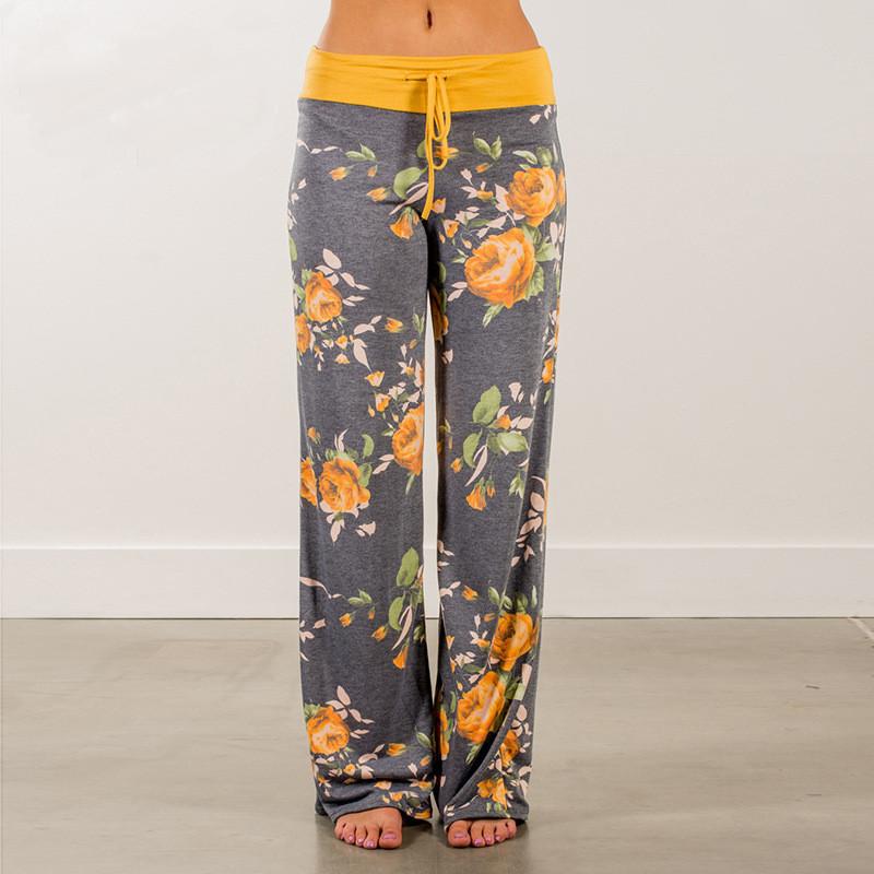 Plus Size Women Floral Print Yoga Palazzo Trousers Pants 32 Styles Wide leg Trousers Ties Design Loose Sport Harem Pant High Waist Boho Pant