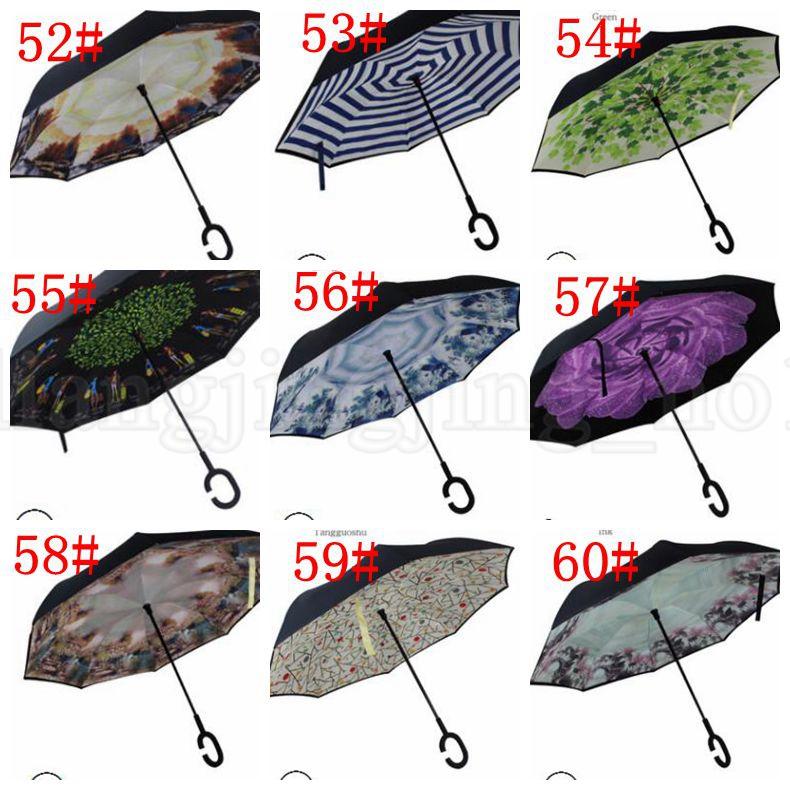 Reverse Umbrella Windproof Inverted Umbrella For Car Double Layer Hands Free Inverted Umbrella C-Hand Inverted Umbrellas KKA6032