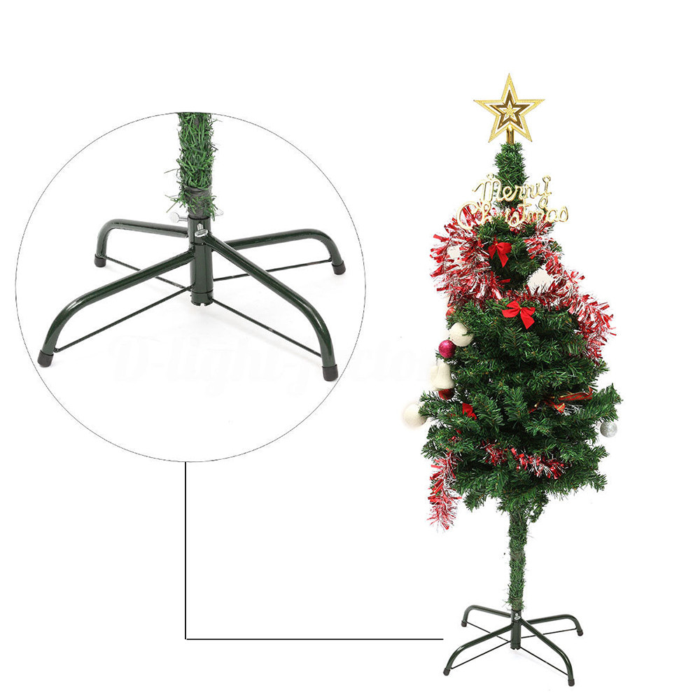 Christmas Tree Stand Green Metal Holder Base Cast Iron Stand 4 Feets Decorations+Fix screw Christmas Decorations for Home 1O9