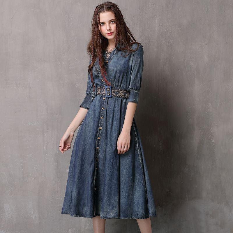 2018 New Spring Fashion Women/'s Retro Embroidery 3//4 Sleeve Slim A-line Dress sz
