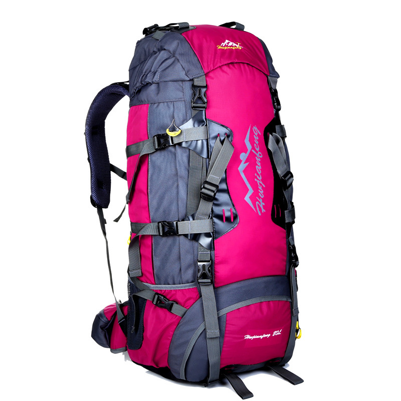 80L Large professional outdoor hiking camping backpacks multi function sports double shoulder travel bags