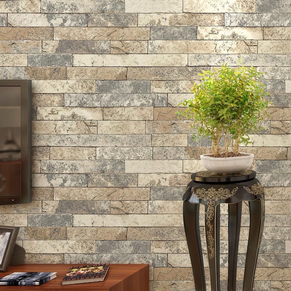 Papier Peint Brique Cuisine papier peint rétro mur brique pour murs 3 d salon cuisine pvc imperméable à  l'eau épaissie 3d stéreoscopique pierre brique papier peint rouleau