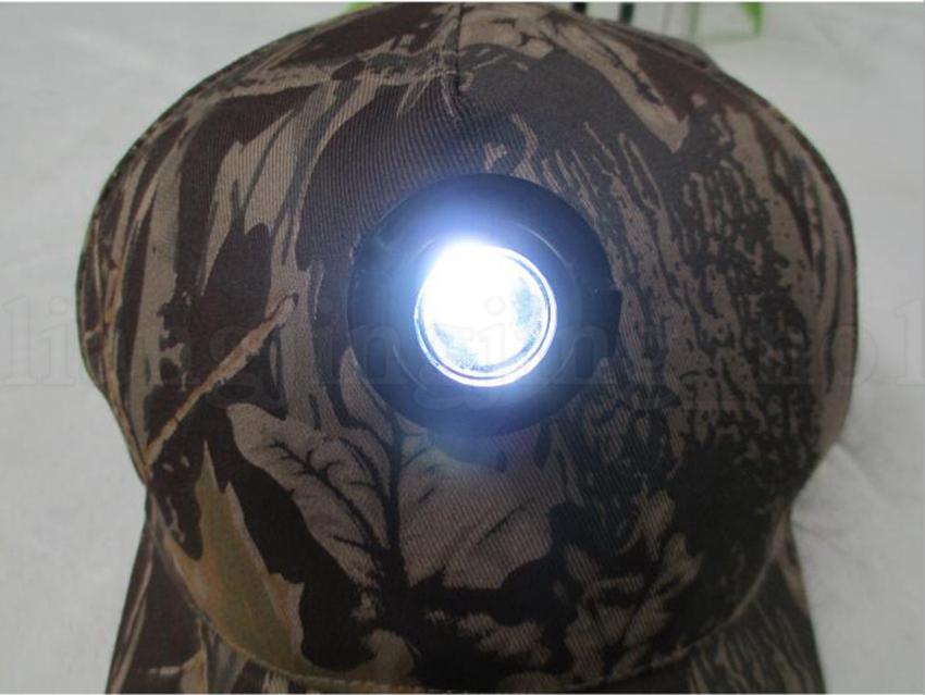 Camo Head Light Cap Night Fishing Cap Ciclismo Caza Deportes Durable Sombreros de Faro LED Baseball Party Hats OOA5641