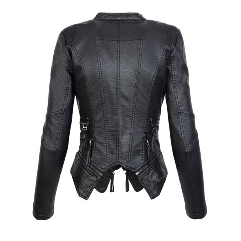 Motorrad Jacke Schwarz Faux Pu Lederjacke Mantel Herbst Weiche Reißverschluss Gothic Großhandel Mode Leder Rosettic Weiblichen Frauen PnXNwk8O0