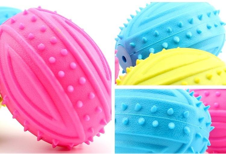 Fake Landmine Ball Pet Toy Puppy Chews Toy Dog Rubber Toys Non-toxic Durable Pet Supplies Random Color 9*6CM