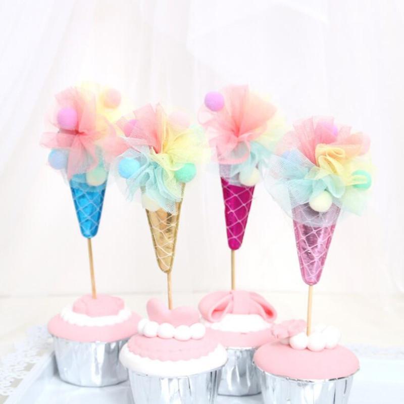 2018 New Lace Ice Cream Cake Topper Dessert Decorazioni da tavola Accessori Cake Cupcake Decorazione Festa di compleanno Forniture