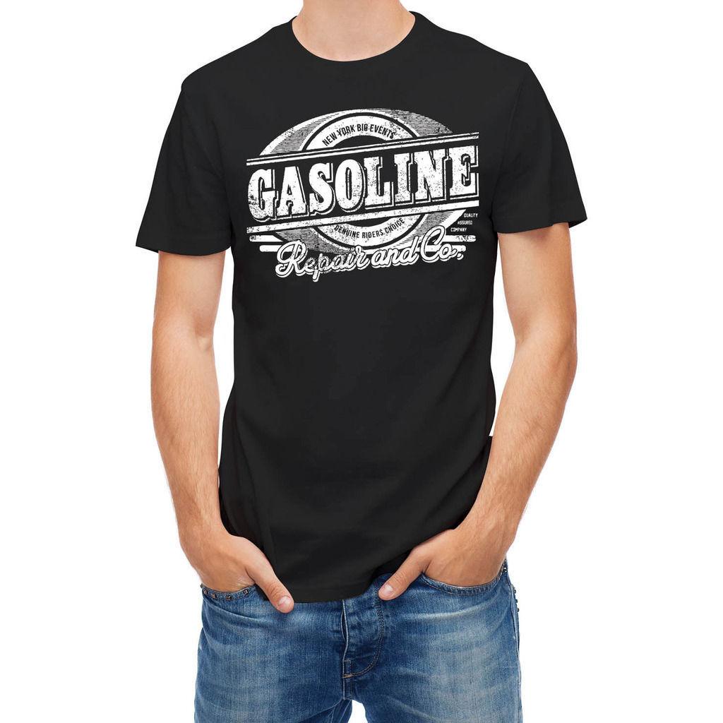 Футболка подлинная всадники бензин ремонт станции футболка для мужчин / мальчик с коротким рукавом прохладный тройники мужчины повседневная с коротким рукавом футболки
