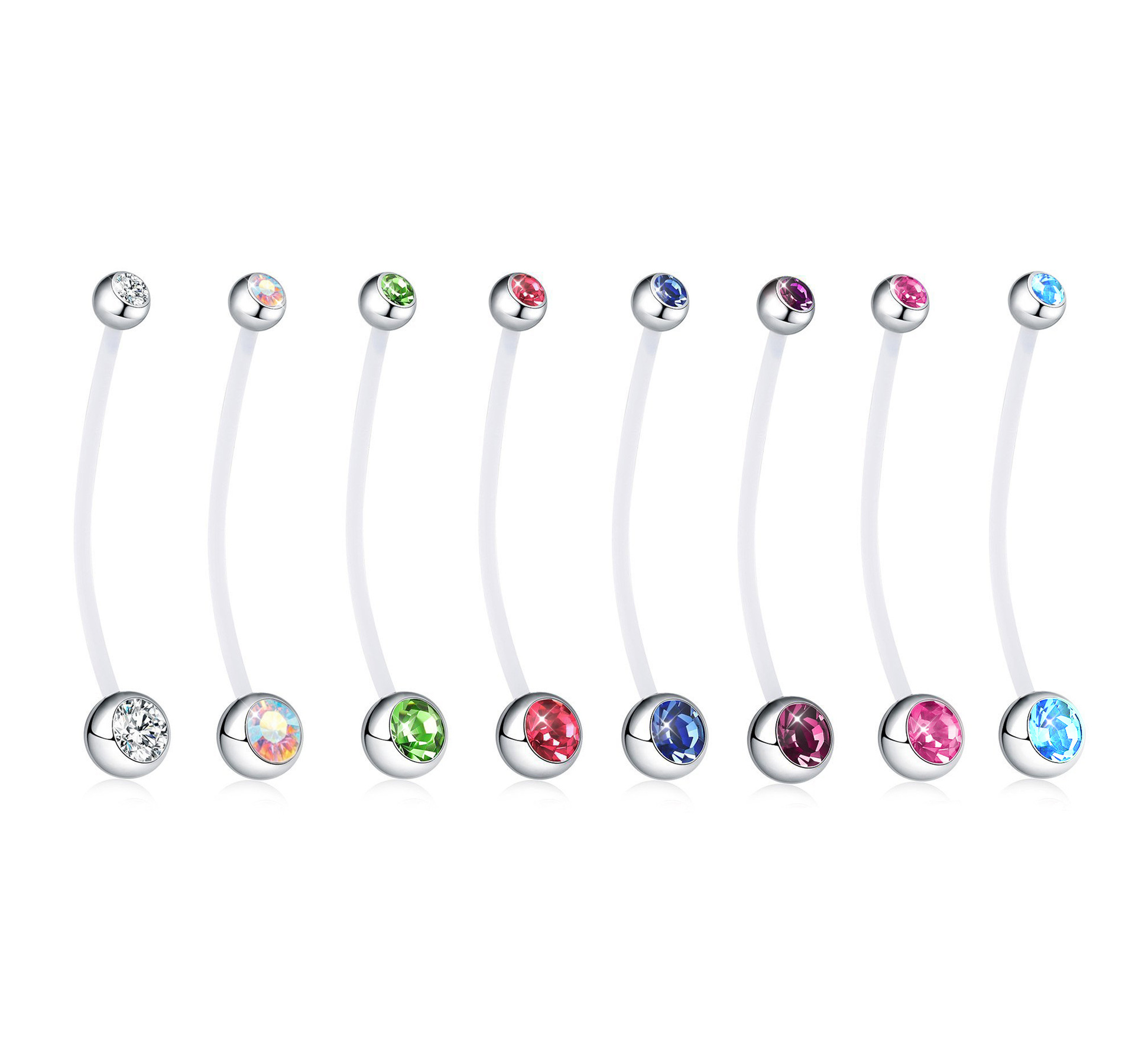Embarazo ombligo piercing PTFE bio Plast Flex estrella cristal Crystal
