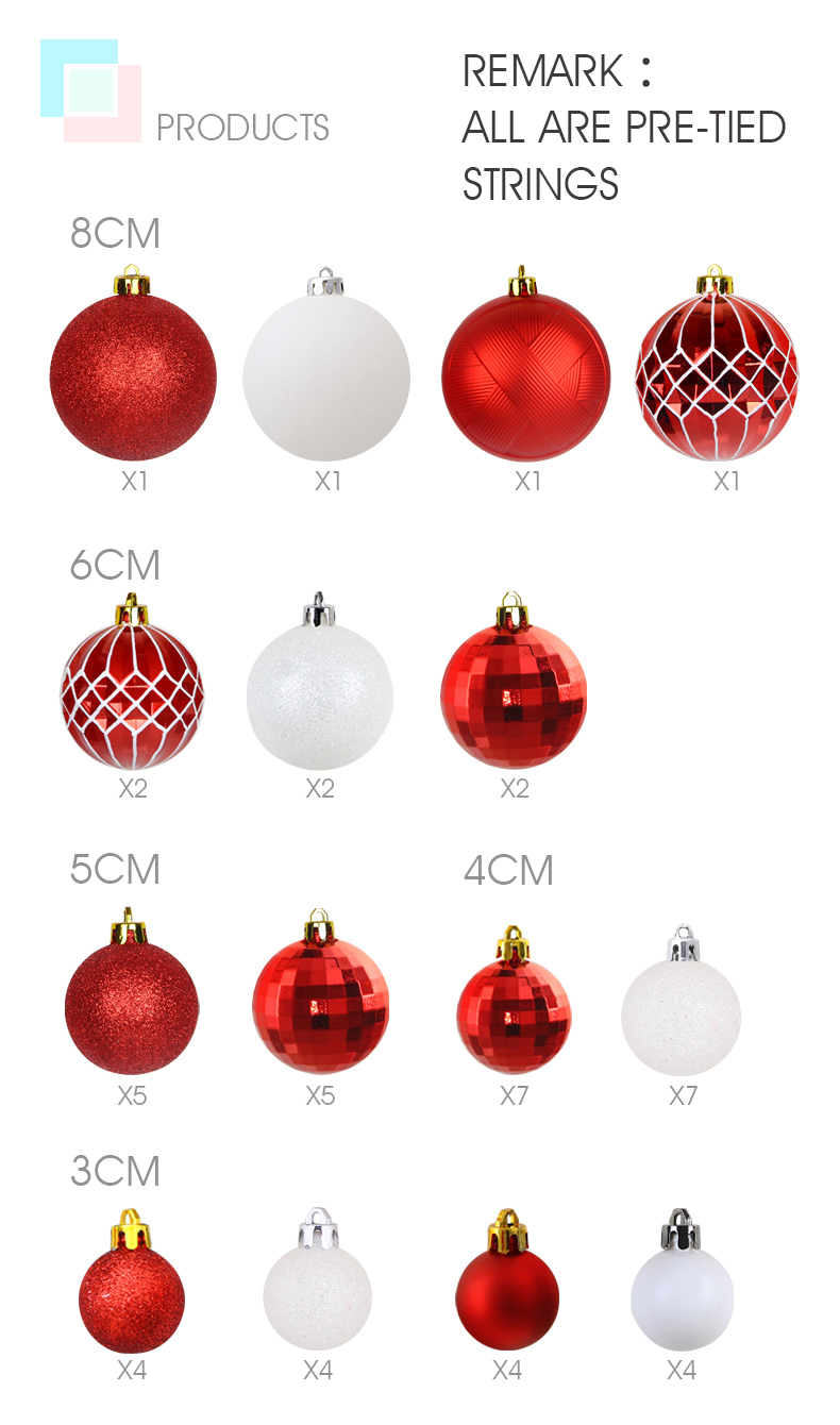03 inhoo Christmas Tree Decoration Balls Ornaments Pendant Accessories 50pcs Red and white ball Decor For Christmas Home Party 2019