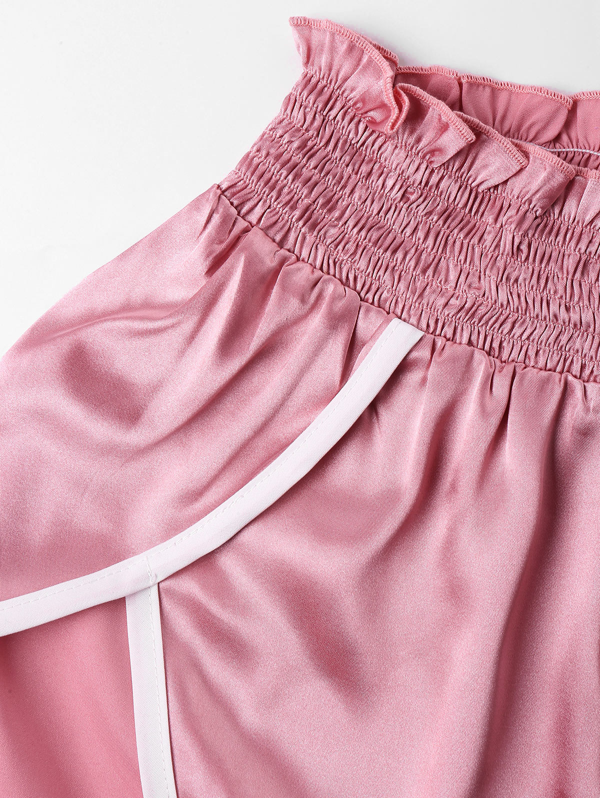 wholesale High Cut Shorts Two Piece Set Color Patchwork Halter Strap Camis Cropped Top Ruffles Shorts Girl Beach Suit Sweet Pink
