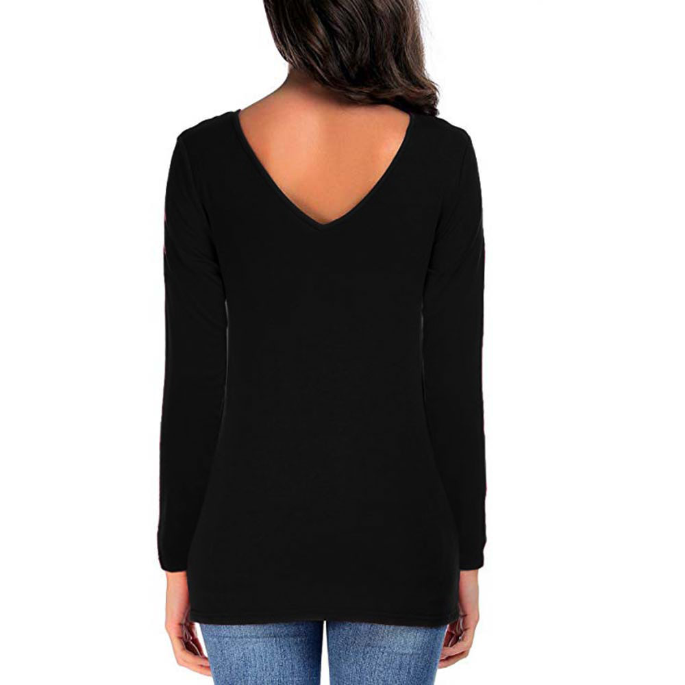 Autumn Casual Tops Women Full Sleeve Solid Color Crisscross Double V-Neck T-Shirt Ladies Basic Tees #10