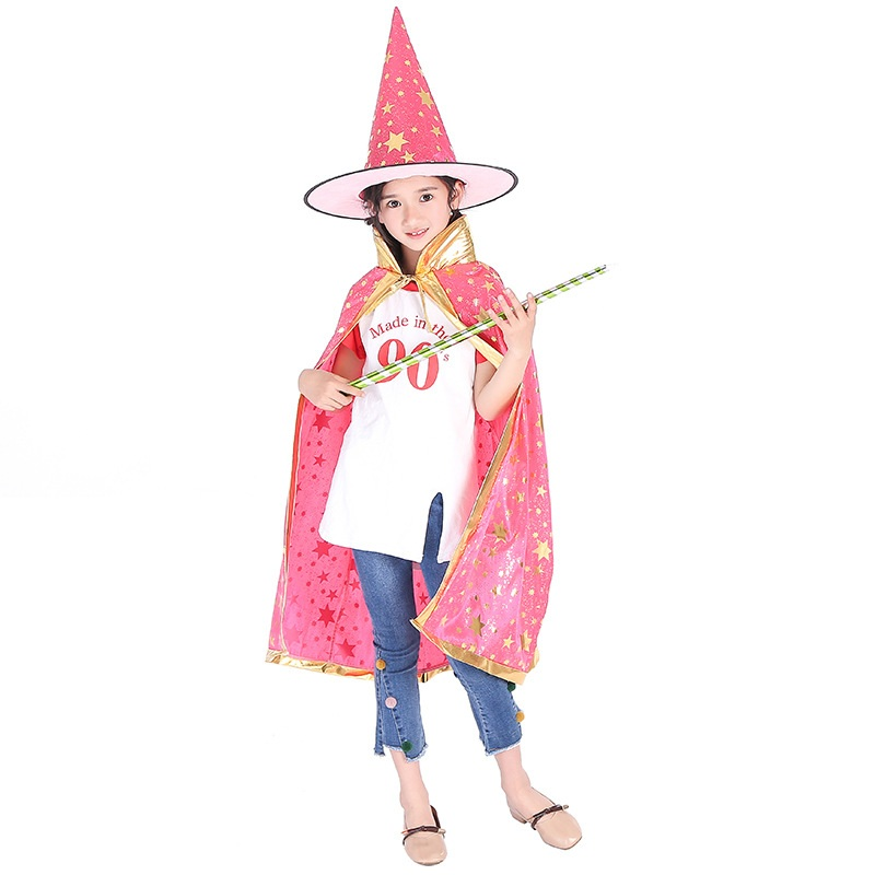 Halloween Cloak Cap for Festival Fancy Dress Children Costumes Witch Wizard Gown Robe and Hats Costume Cape Kids