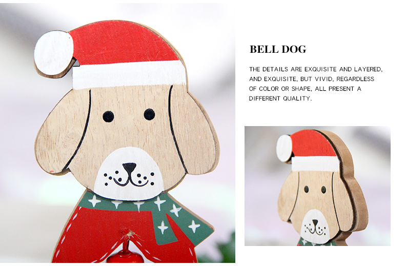 08 2019 Merry Christmas Wooden dog Ornaments Room Wall Hanging Accessories For Home Table Desktop Stand Decor Santa Bells Dog Gifts