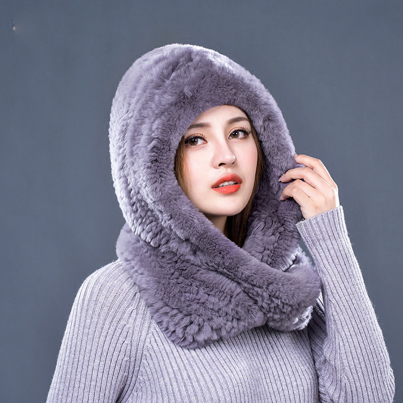 Hat Women 2017 New Knitted Real Rex Rabbit Fur Hat Hooded Scarf Winter Warm Natural Fur Hat With Neck Scarves (15)