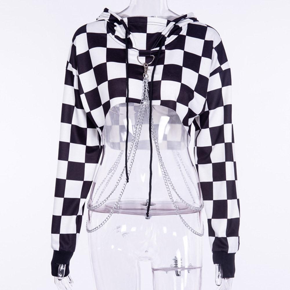 Acheter 2018 Automne Gothique Haute Rue Casual Noir Femmes Sweat Shirts En Lâche Coton À Capuche À Carreaux Pull Femme Cool Mode Hoodies De $44.54 Du
