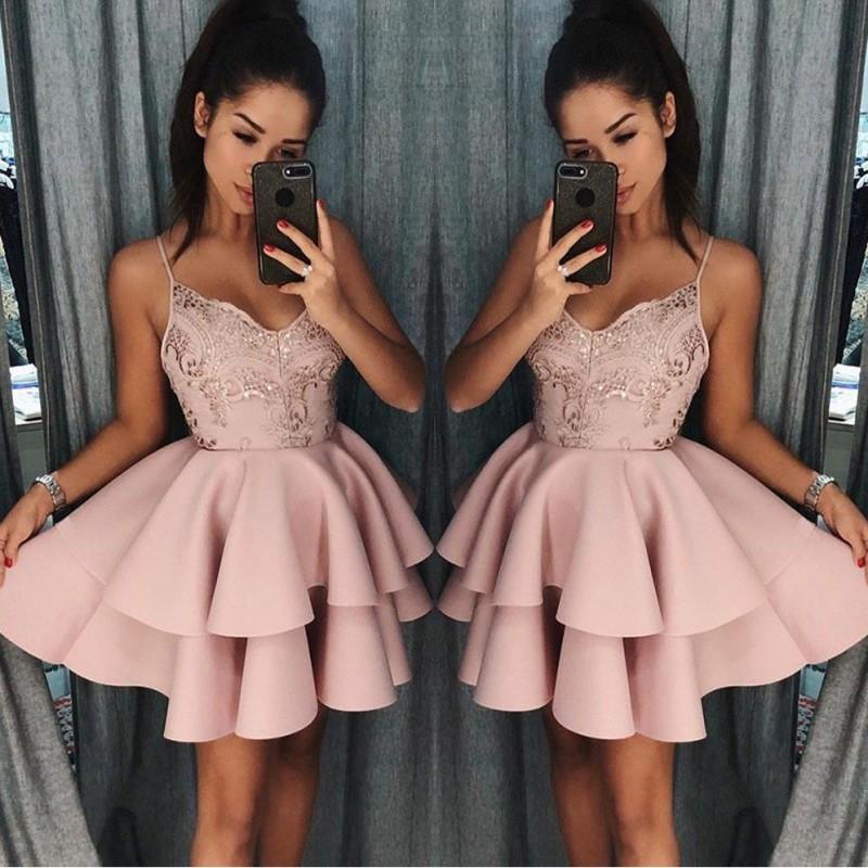 rose gold light pink homecoming dresses