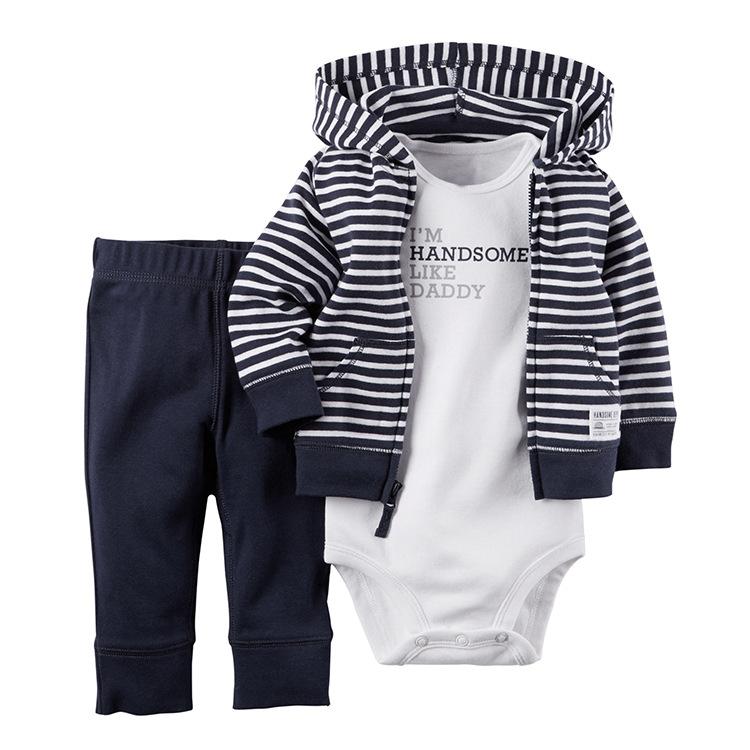 Baby Boys vestiti Outfit Infant Boy vestiti stripe felpe + tuta + pantaloni 3 pezzi / set bambino manica lunga bambino autunno suit boy abbigliamento set