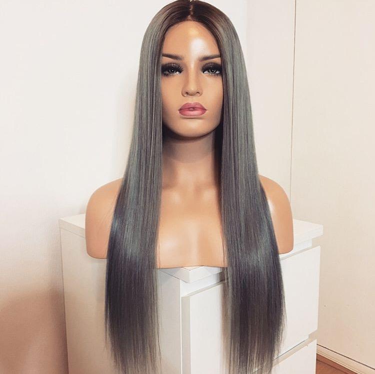grau schwarze haare