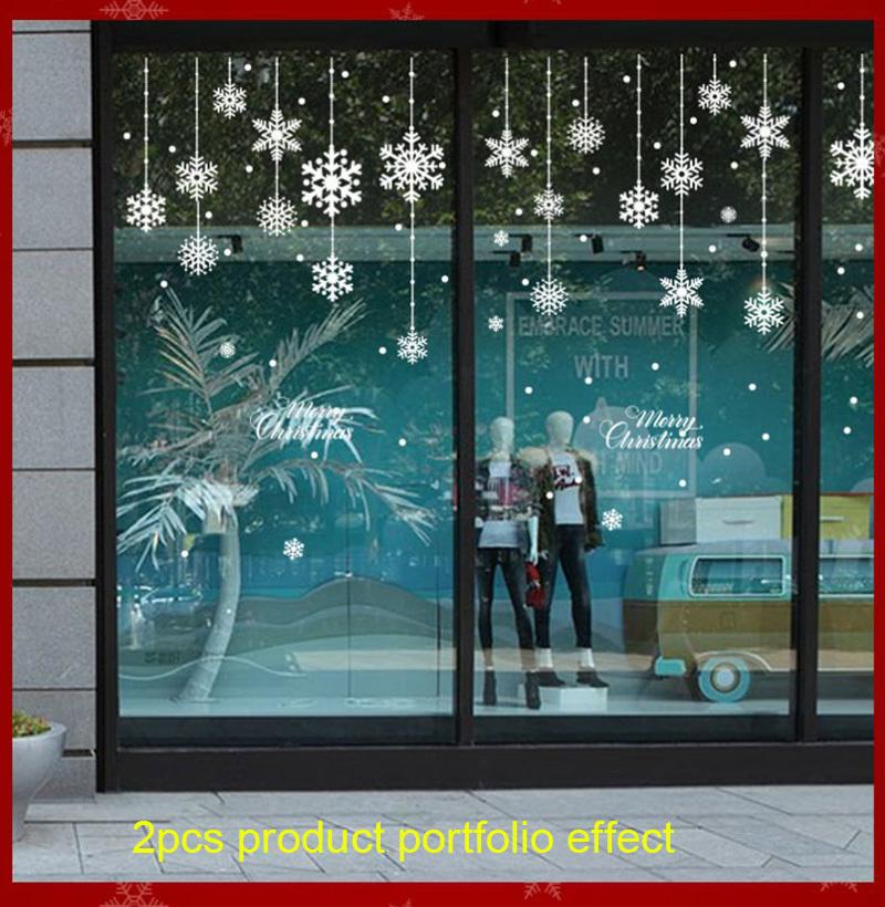 Happy New Year Christmas Decorations for Home Snowflake Glass Sticker Merry Christmas Decor Shop Window Sticker Navidad Natal (4)