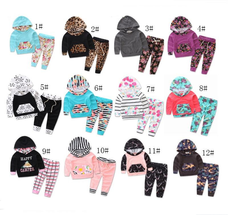 23 Styles Women Tracksuit INS Kids Clothing Set Cotton Floral Striped Suit With Caps Outfits Baby Set Children Animal Hoodies For Boys Girls
