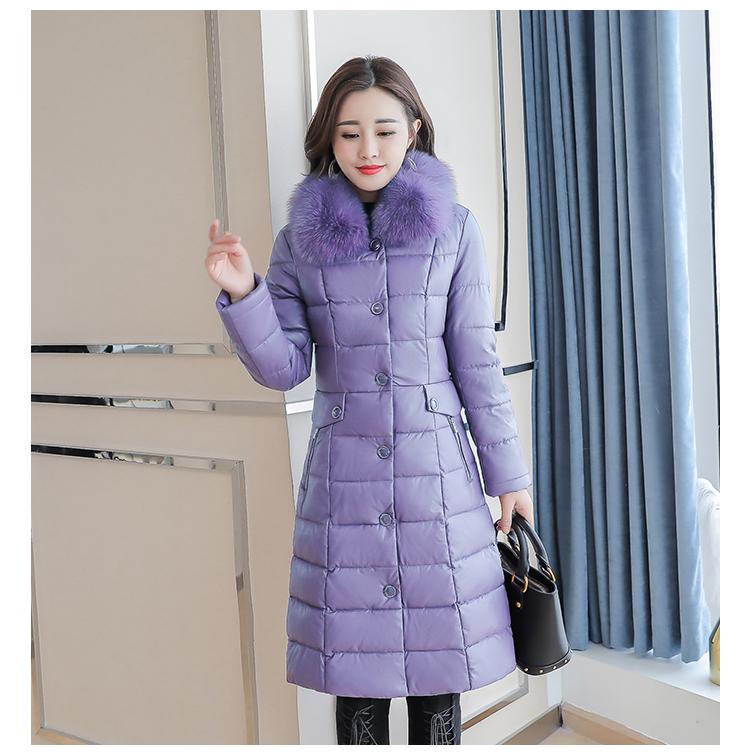 8300 Plus Size Faux Fur Collar Leather Jackets Women Slim Long Warm Down Fur Coat Elegant Top Quality Manteau Femme Hiver 5xl 2018 1