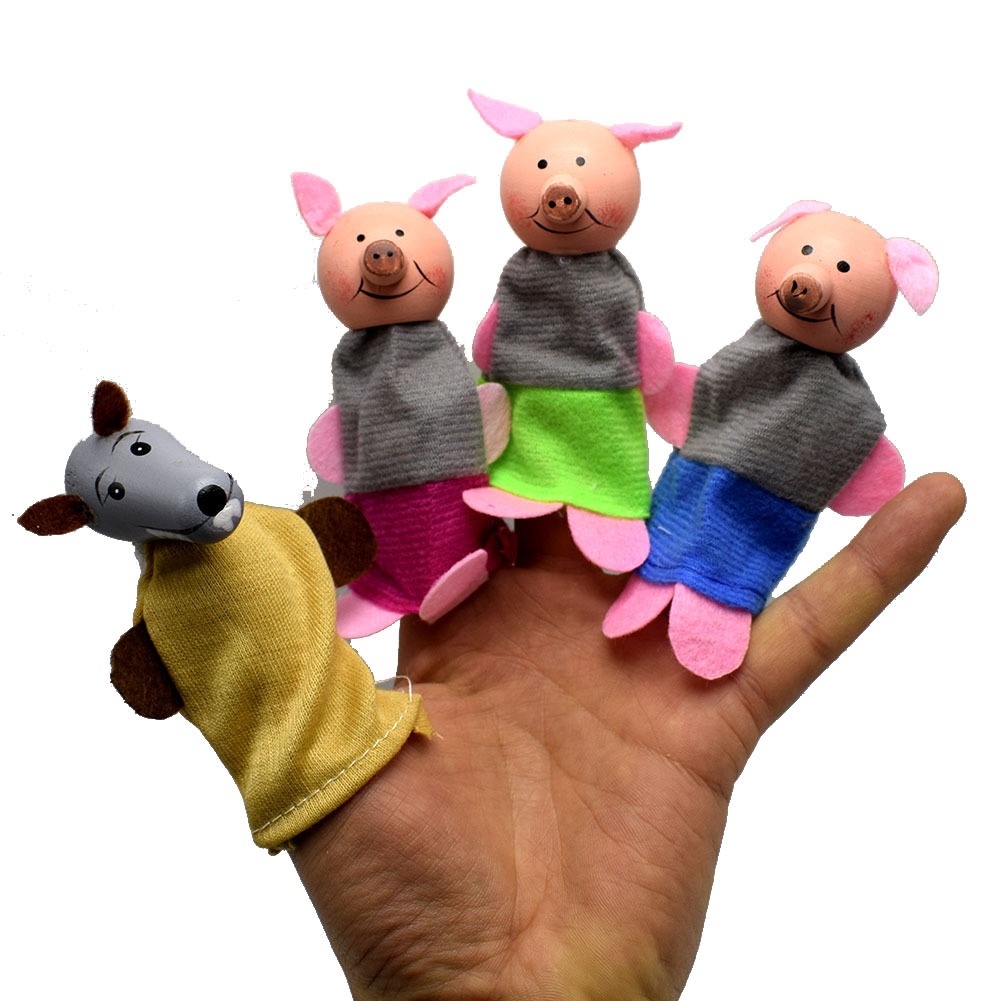 =Soft Plush Three Little Pigs Fairy Tale Wood Cloth Finger Puppet Set Children Story Telling Helper Dolls