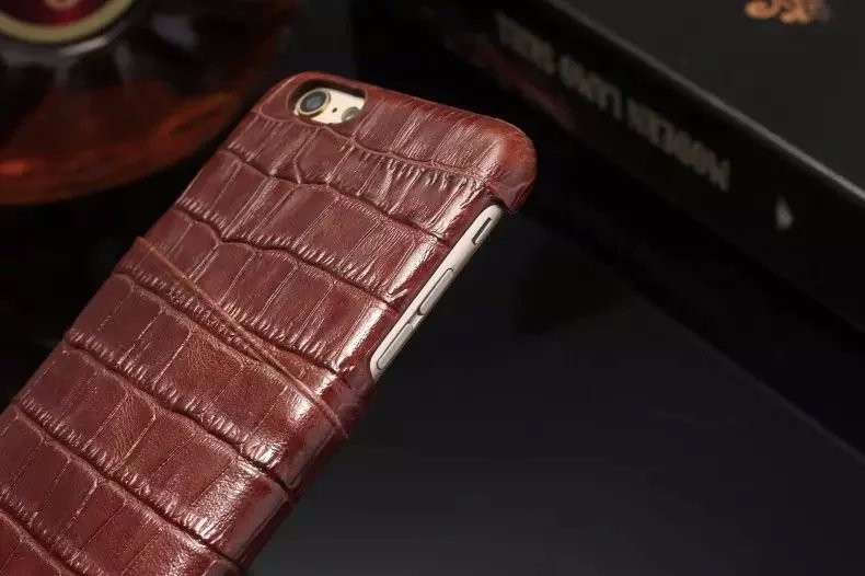 brown color real leather case for iPhone 6 6S Plus detail (2)