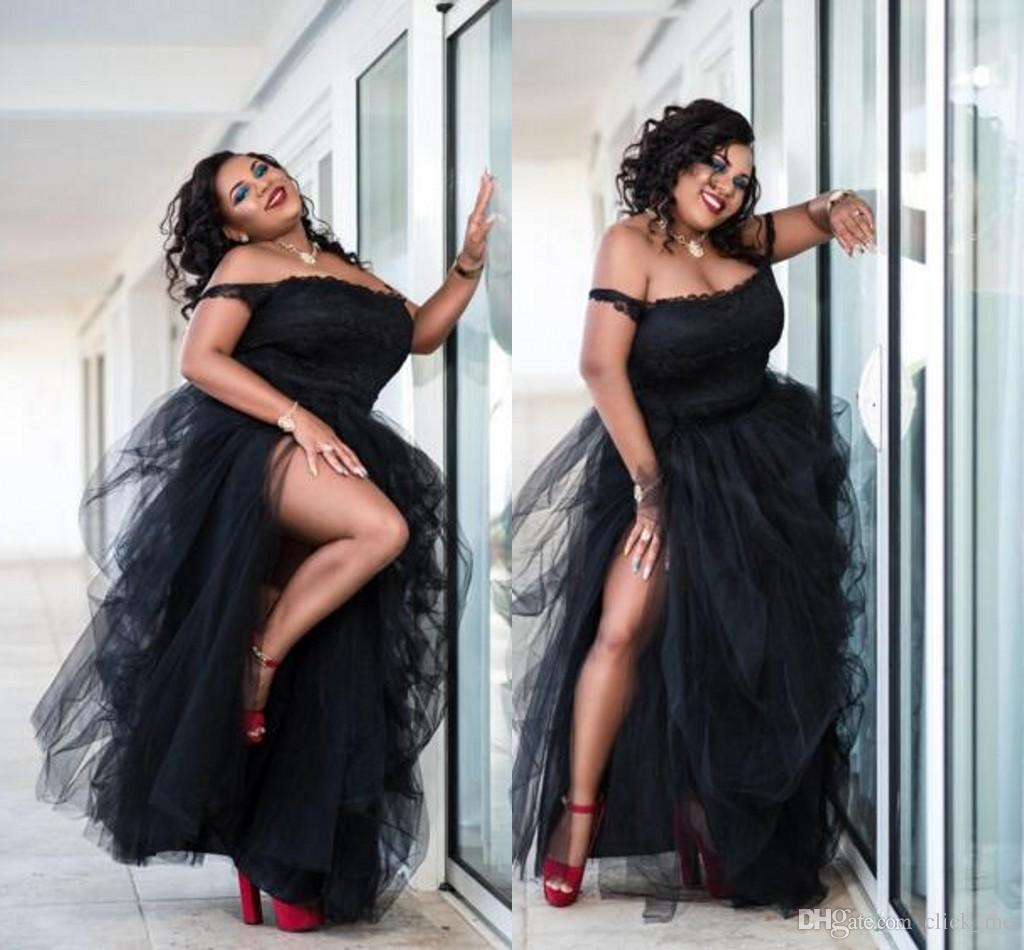 Sexy Black Plus Size Prom Dresses Side Split Tutu Tulle Off The Shoulder Cheap Party Dresses Women Formal Wear Sexy African Evening dresses