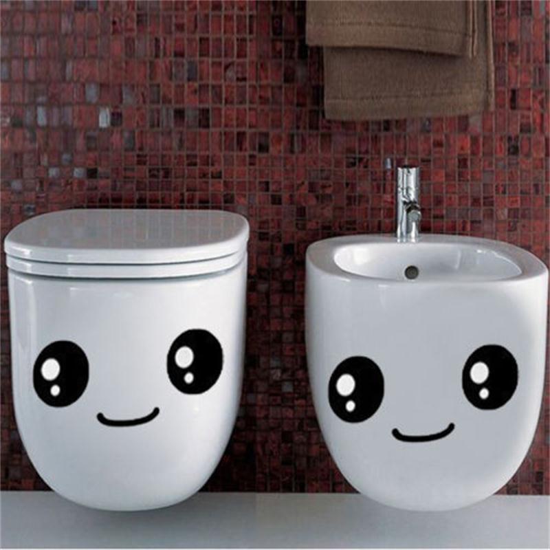 Smile Face Toilet seat stickers diy furniture decoration wall decals fridge washing machine vinyl sticker Bathroom Car Gifthaif