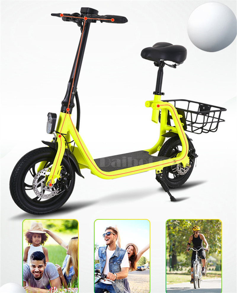 Daibot Adult Electric Scooter Car Two Wheel Electric Scooters With Child Seat 12 Inch 350W 36V Portable Electric Bike Two Seater (7)