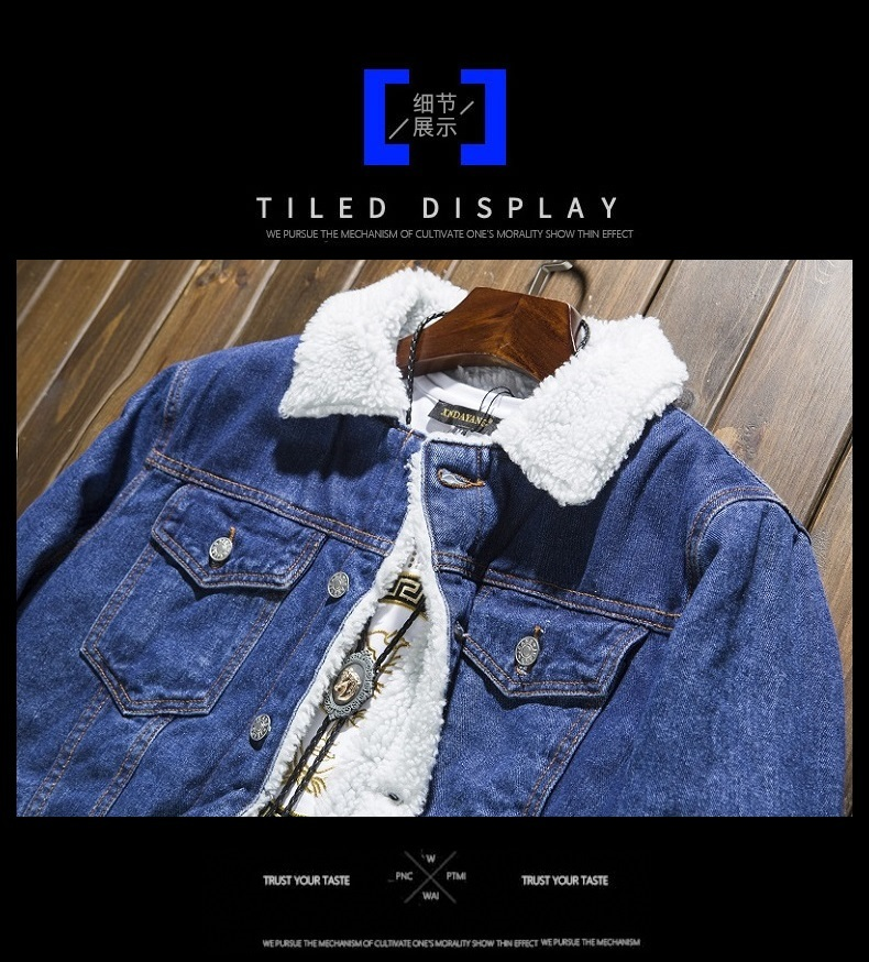 2018 Winter Denim Jacket Mens Cotton Casual Fleece Warm Bomber Jacket Men Jean Jacket Mens Outwear Male Cowboy Plus Size S 6XL S1015 Over Sized Coats