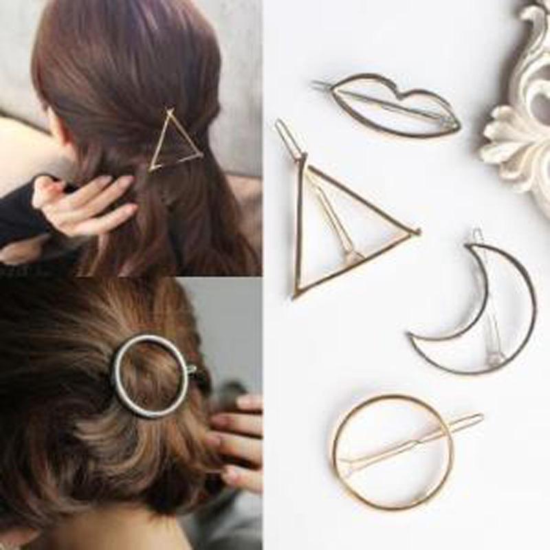 Vintage grüne Haarspange Geometrischer Form Federclip Haarklammer