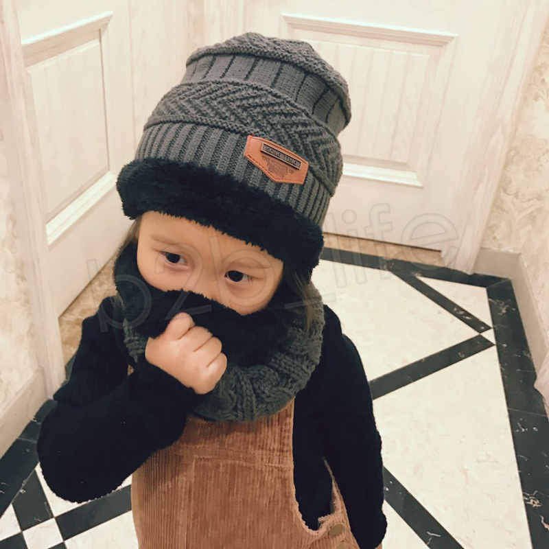 Boys Winter Knitted Beanie Hat and Scarf Set Toddler Kids Warm Fleece Mask Balaclava Cap Outdoor Skiing Sports scarf GGA1070
