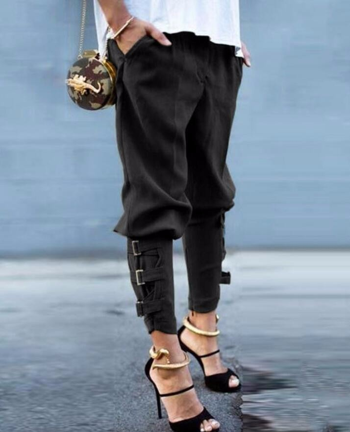 New Fall Arrival Women's Fashion Design Loose Trousers Pants Korea Style Army Green Unique Fettered Leg Harem Pants