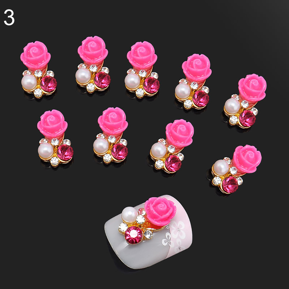 10 Pcs Faux Pearl Rhinestone Flower Nail Art Slices Stickers DIY Decorations (4)