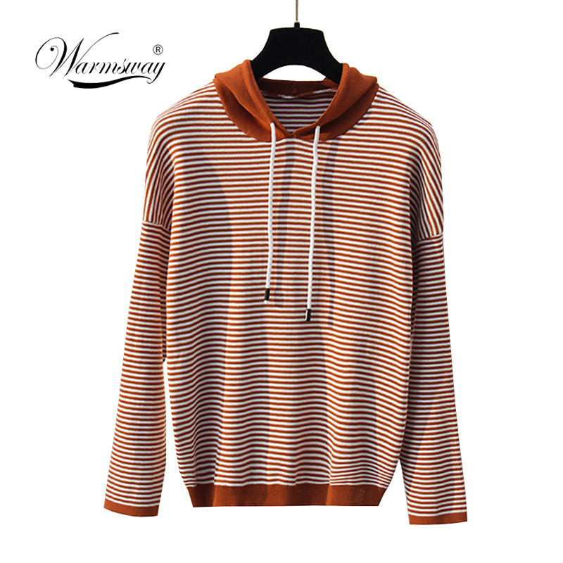Spring Autumn New Women Hoody Sweaters 2019 Harajuku Sweet Vintage Striped Oversize Knit Pullover Sweaters C-280
