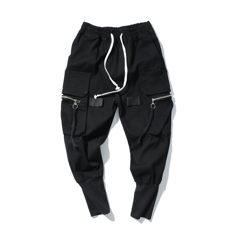 Harem Loose Pants Mens Hip Hop Long Trousers Jeans Streetwear Fashion Elastic Waist Jeans Black High Street Jeans