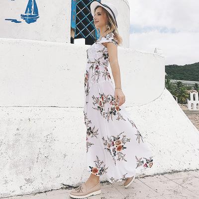 20682d4f37 ... Women V-neck Printed Chiffon Dress Sexy Split Beach Holiday Dresses  Fashion Female Asymmetrical Long ...