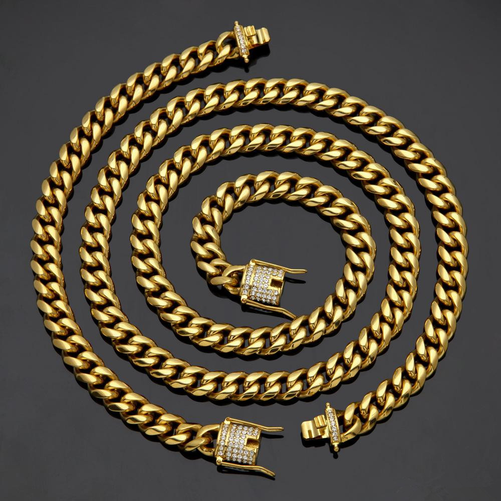Fashion Design Cuban Chain Hip Hop Necklaces and Bracelets Luxury 18K Gold Plated Hiphop Jewelries Sets