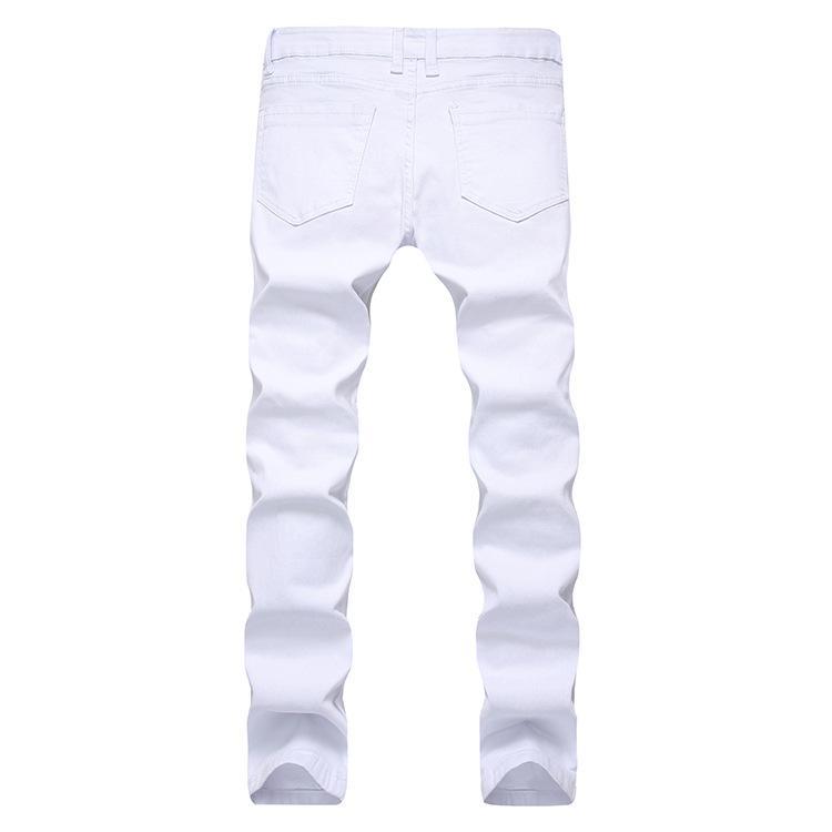 Men White Jeans Biker Multi Zippers Design Ripped Designed Long Pants Slim Fit Male Trousers Clothing