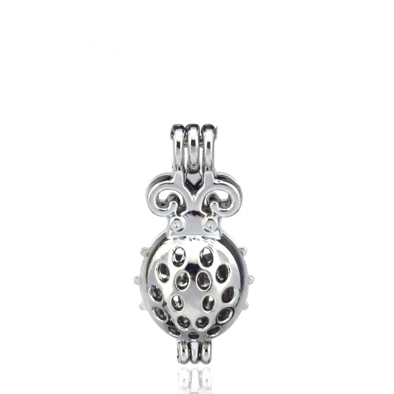 5PCS Silver Enamel Copper Ladybird Insect Beads Cage Locket Pendant K1217