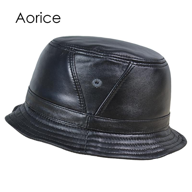 93ac93f1d61 Pudi Men Real Sheep Leather Bucket Hats Caps Women Fishing Flap Hat Beanies  Tracker Hunting Caps Outdoor Caps