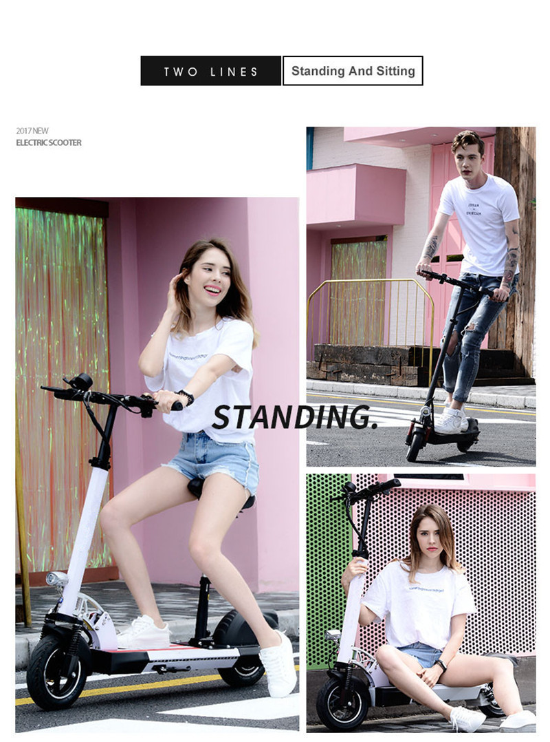 Daibot Folding Electric Bike 48V Two Wheel Electric Scooters 10 inch Motor 500W Portable With Seat Electric Scooters Adults (25)