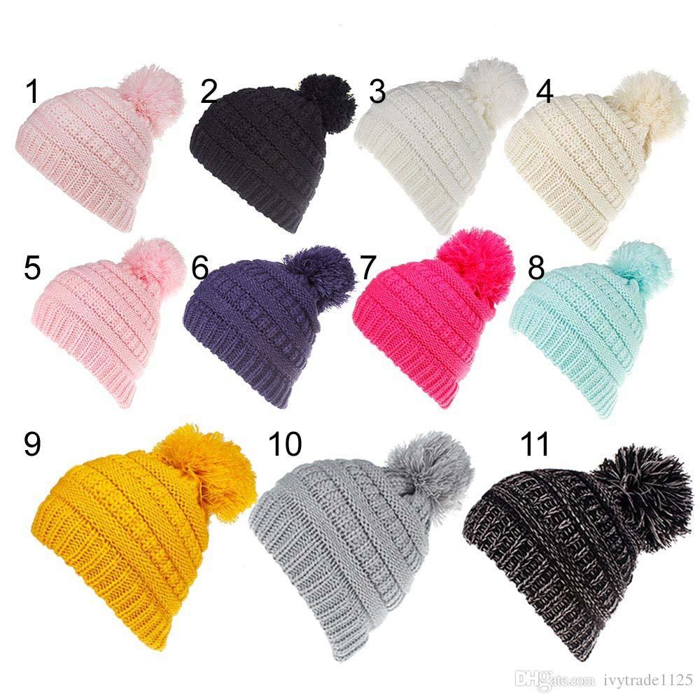 Compre es Niño Colores De Caramelo Orejeras Sombrero De Crochet Para ...