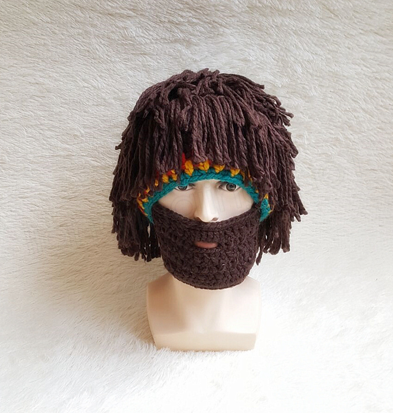 Halloween Christmas Cosplay Beard Wig Cap Men Funny Wigs Hat Trend Handmade Warm Winter Knit Beanies Party Mask Hat GGA1049